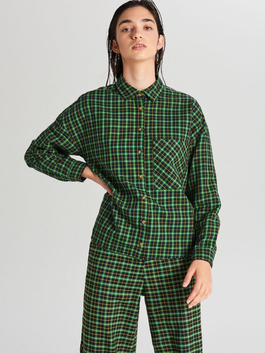 Kockovaná košeľa - Zelená - XF609-76X - Cropp - 2