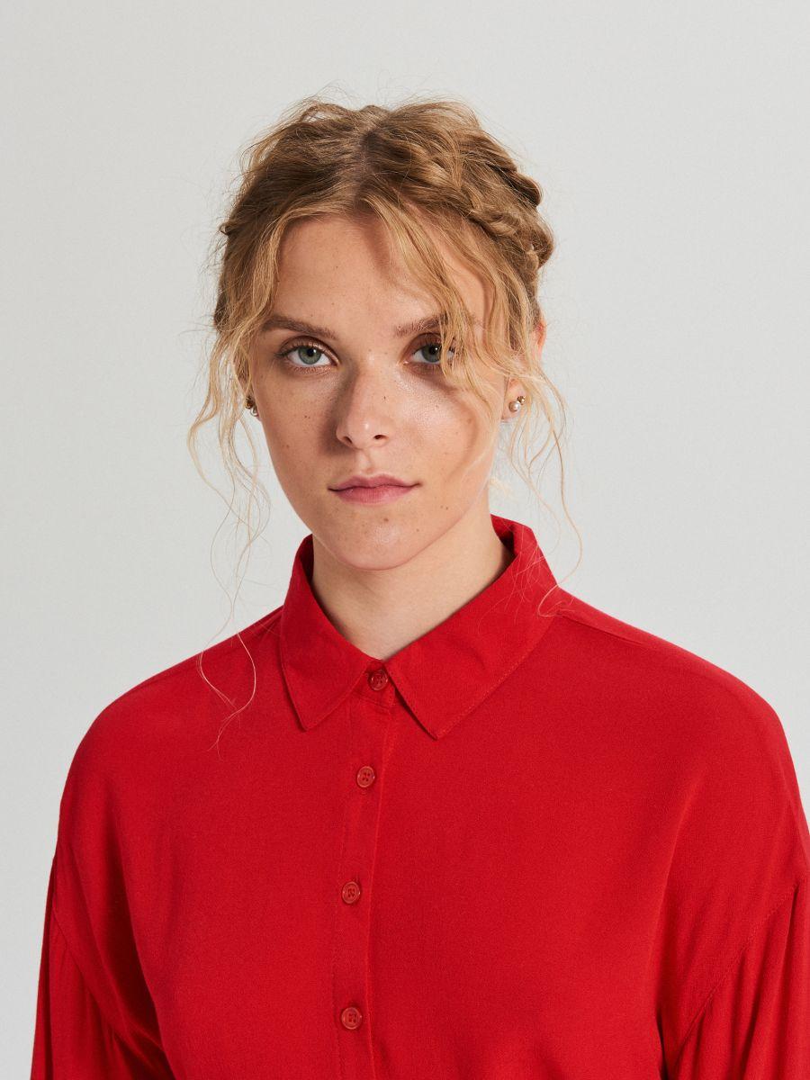 Oversize košeľa - Červená - XF612-33X - Cropp - 2