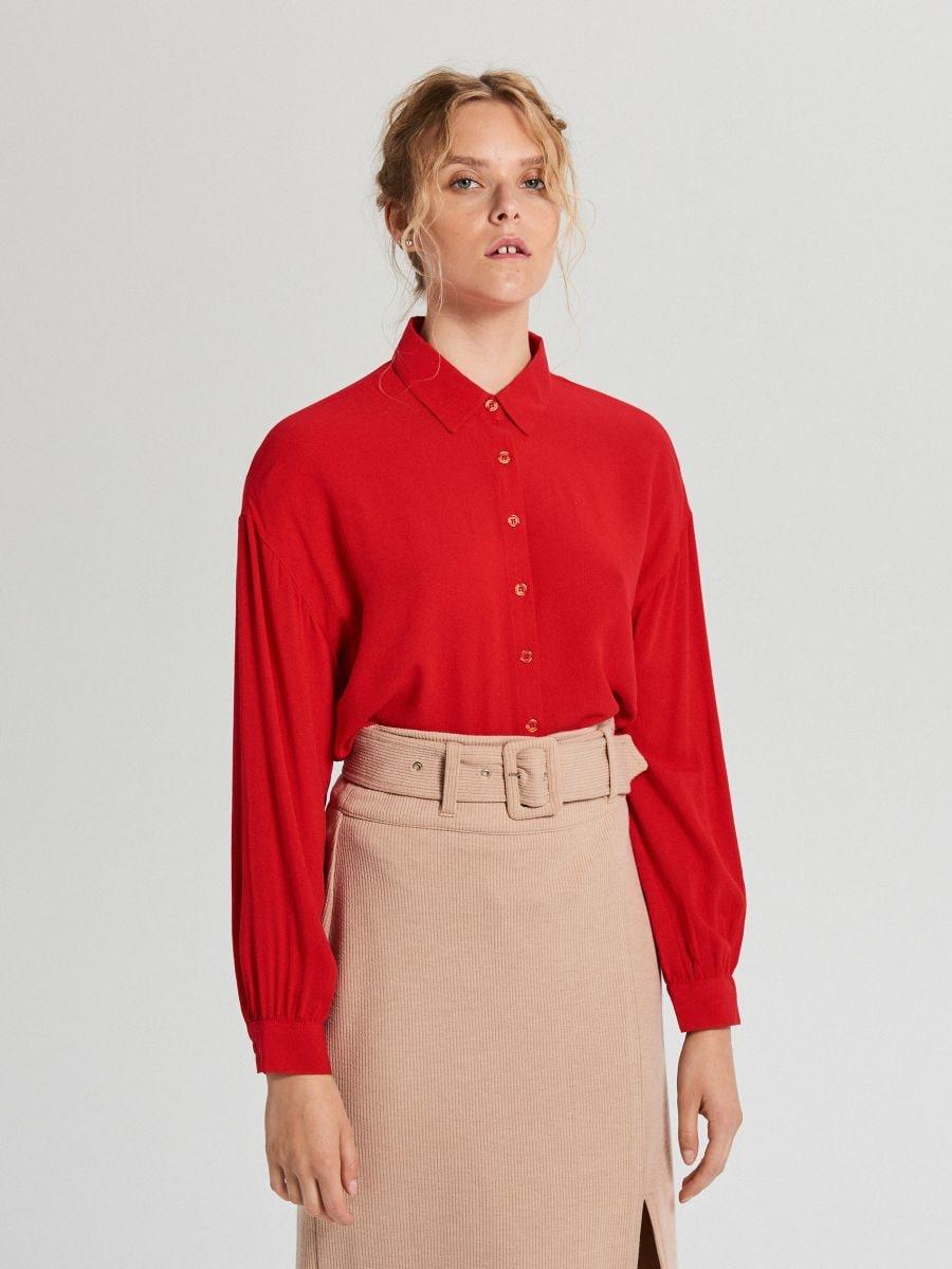 Oversize košeľa - Červená - XF612-33X - Cropp - 1