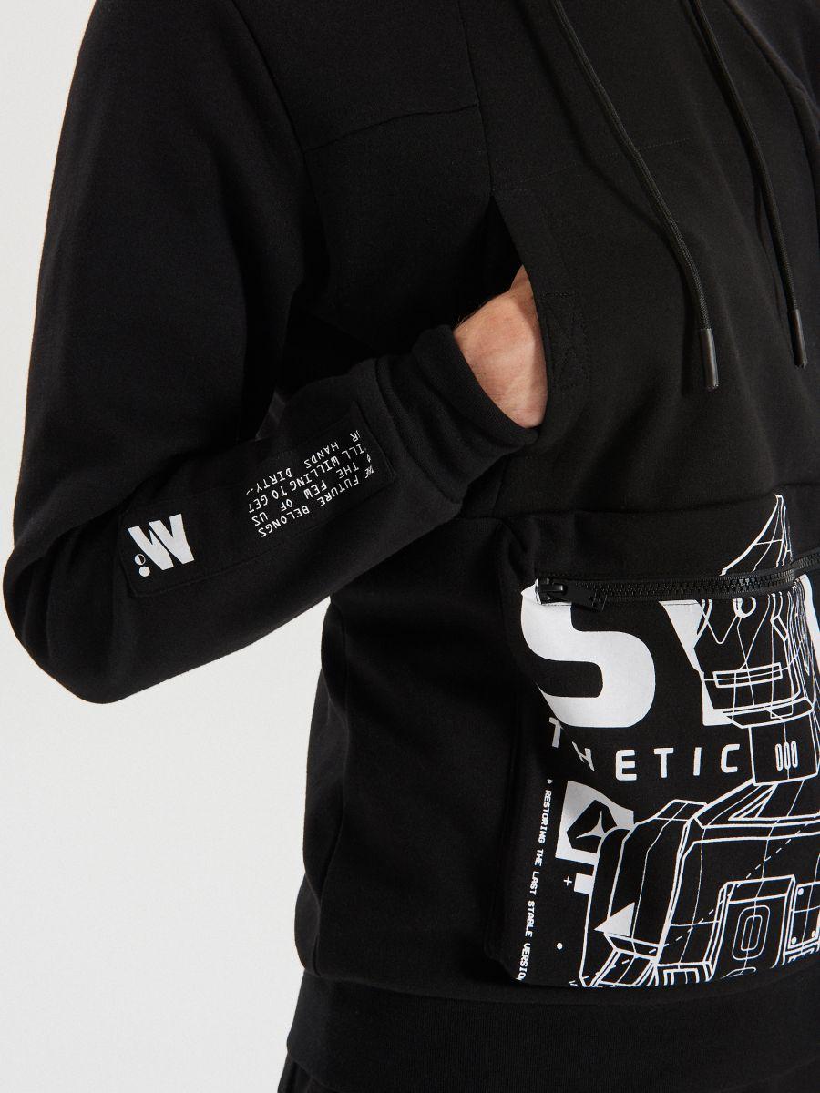 Mikina s kapucňou techwear z rôznych materiálov - Čierna - XG624-99X - Cropp - 3