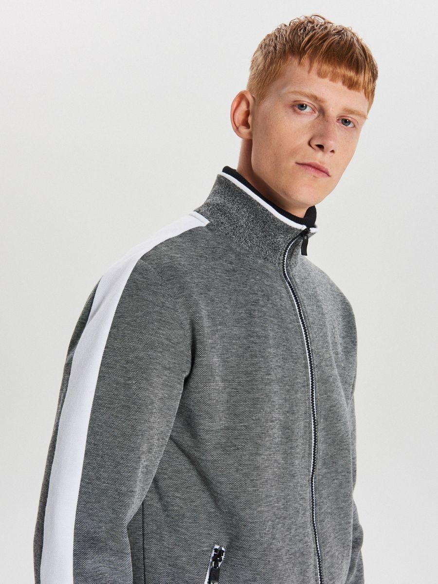 Mikina track jacket na zips - Svetlošedá - XG626-09M - Cropp - 4