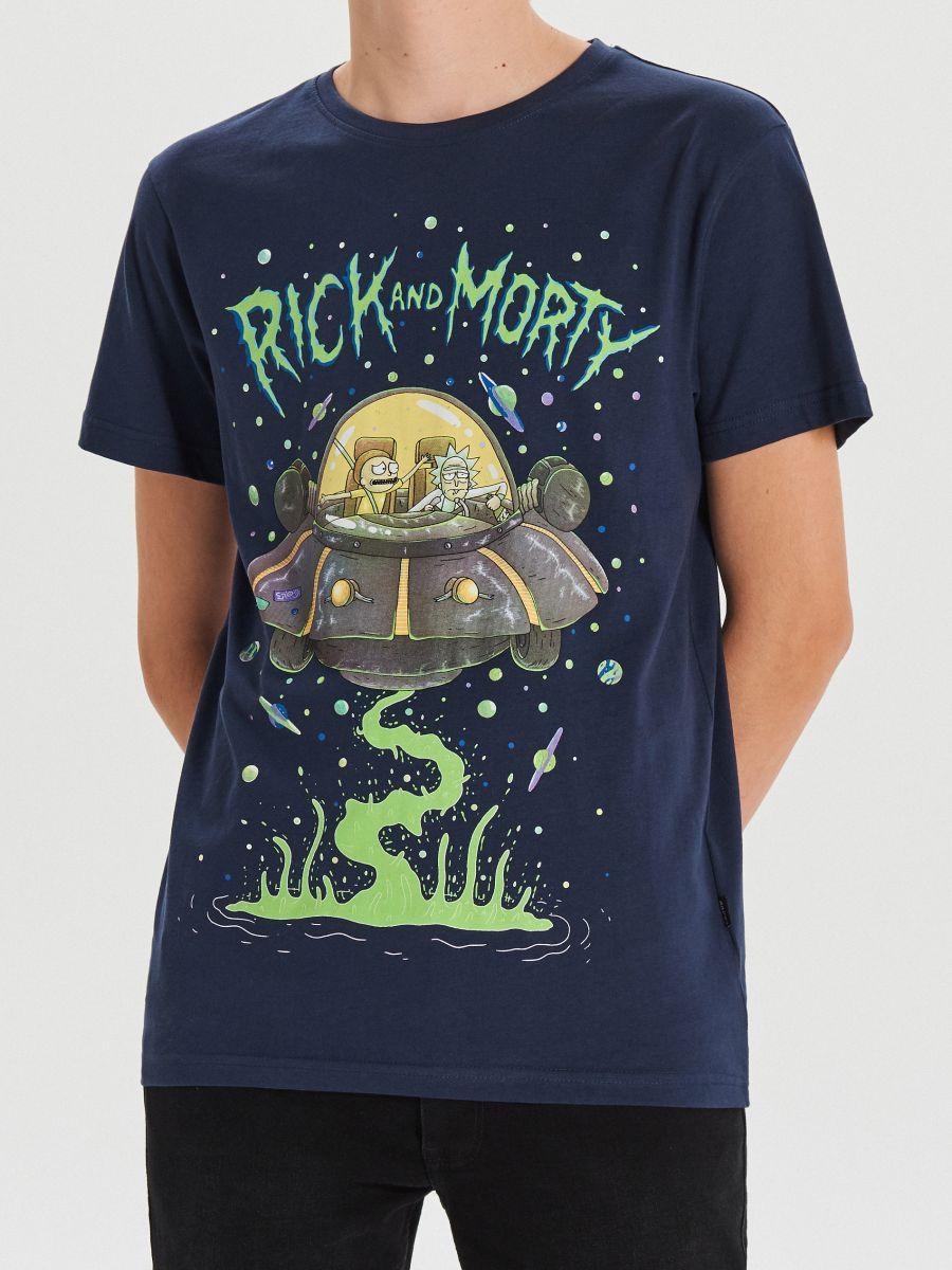 Tričko Rick&Morty - Tmavomodrá - XH468-59X - Cropp - 2
