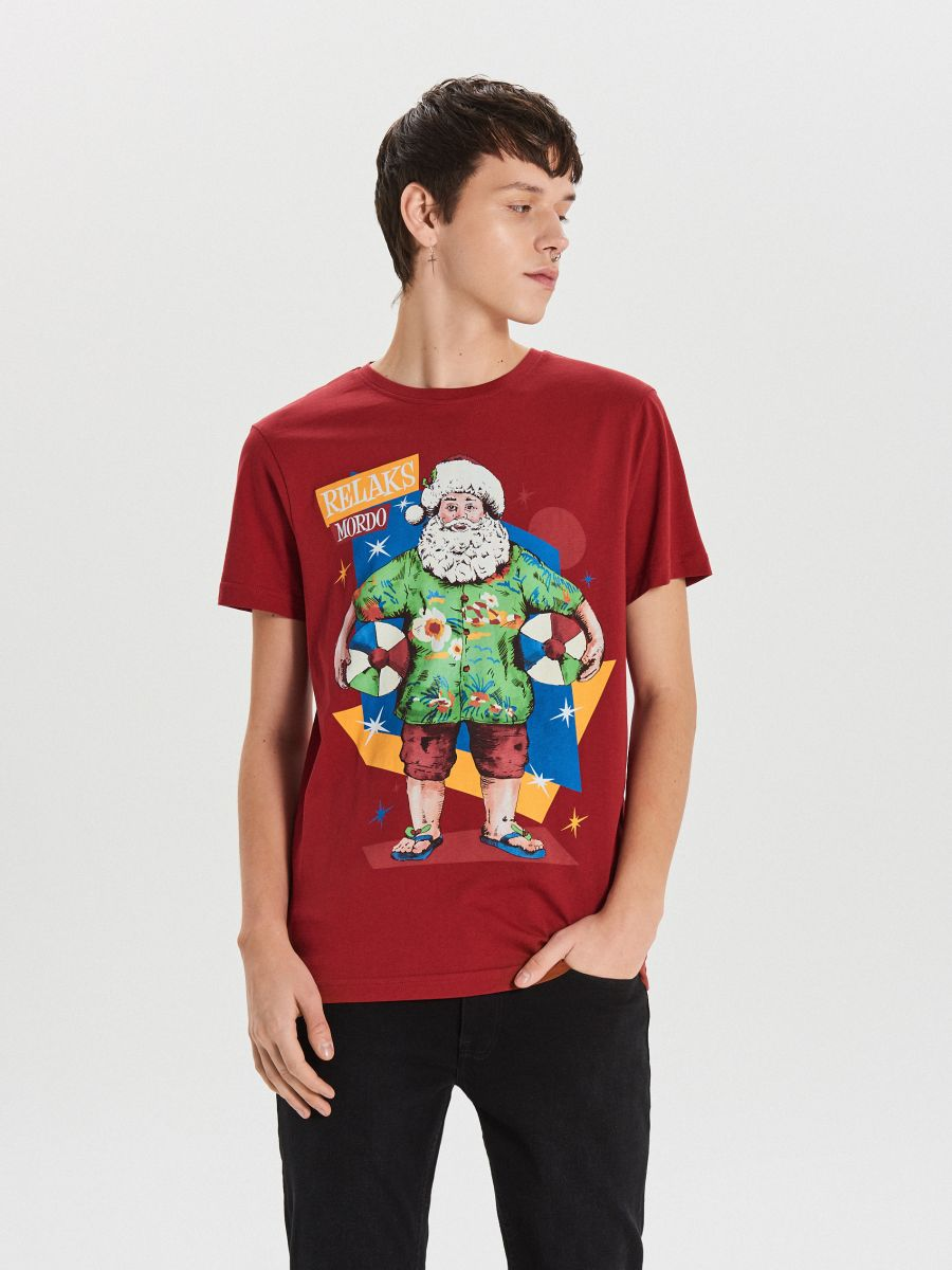 Tričko s vianočnou potlačou - Bordový - XH476-83X - Cropp - 2