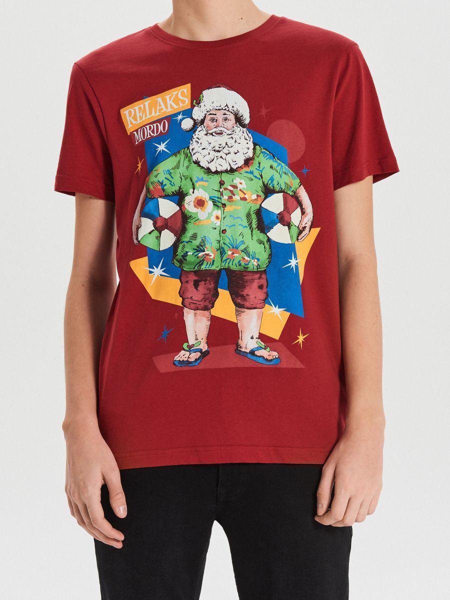Tričko s vianočnou potlačou - Bordový - XH476-83X - Cropp - 3