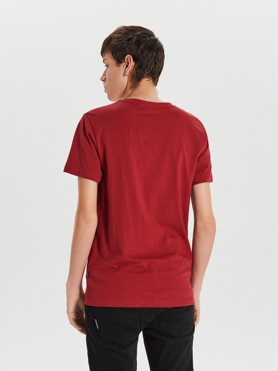 Tričko s vianočnou potlačou - Bordový - XH476-83X - Cropp - 4