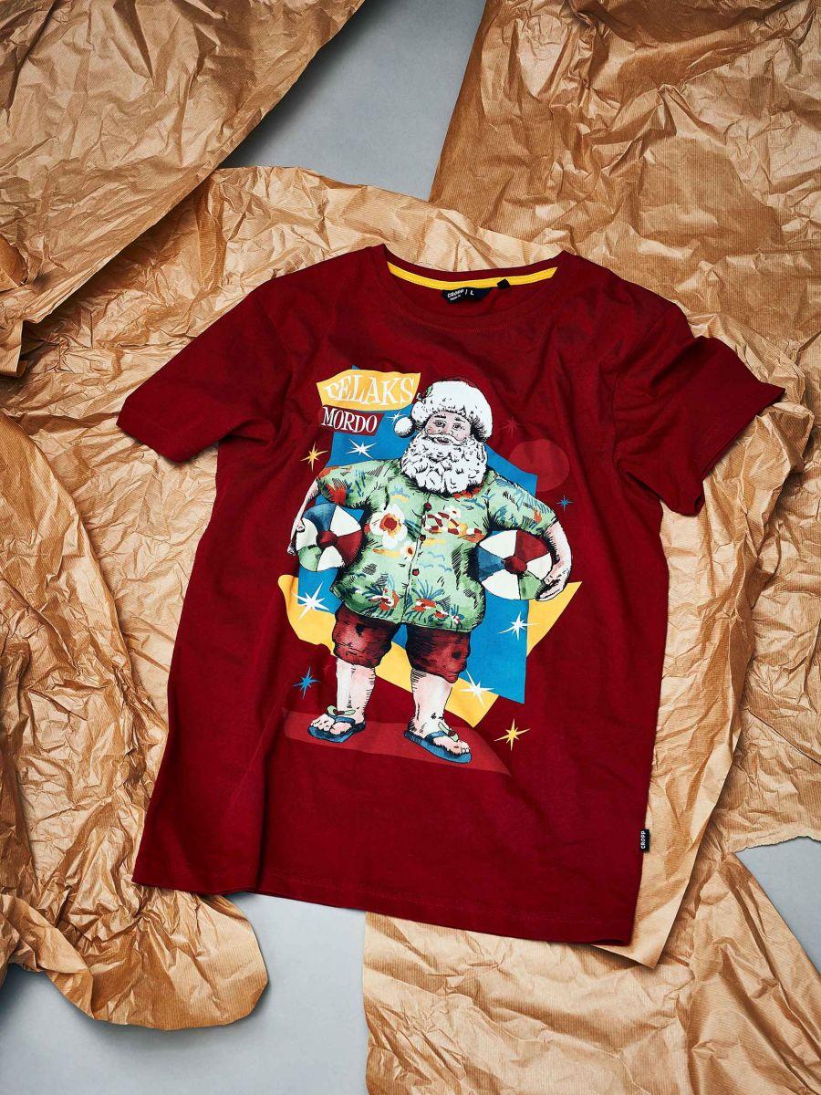 Tričko s vianočnou potlačou - Bordový - XH476-83X - Cropp - 1