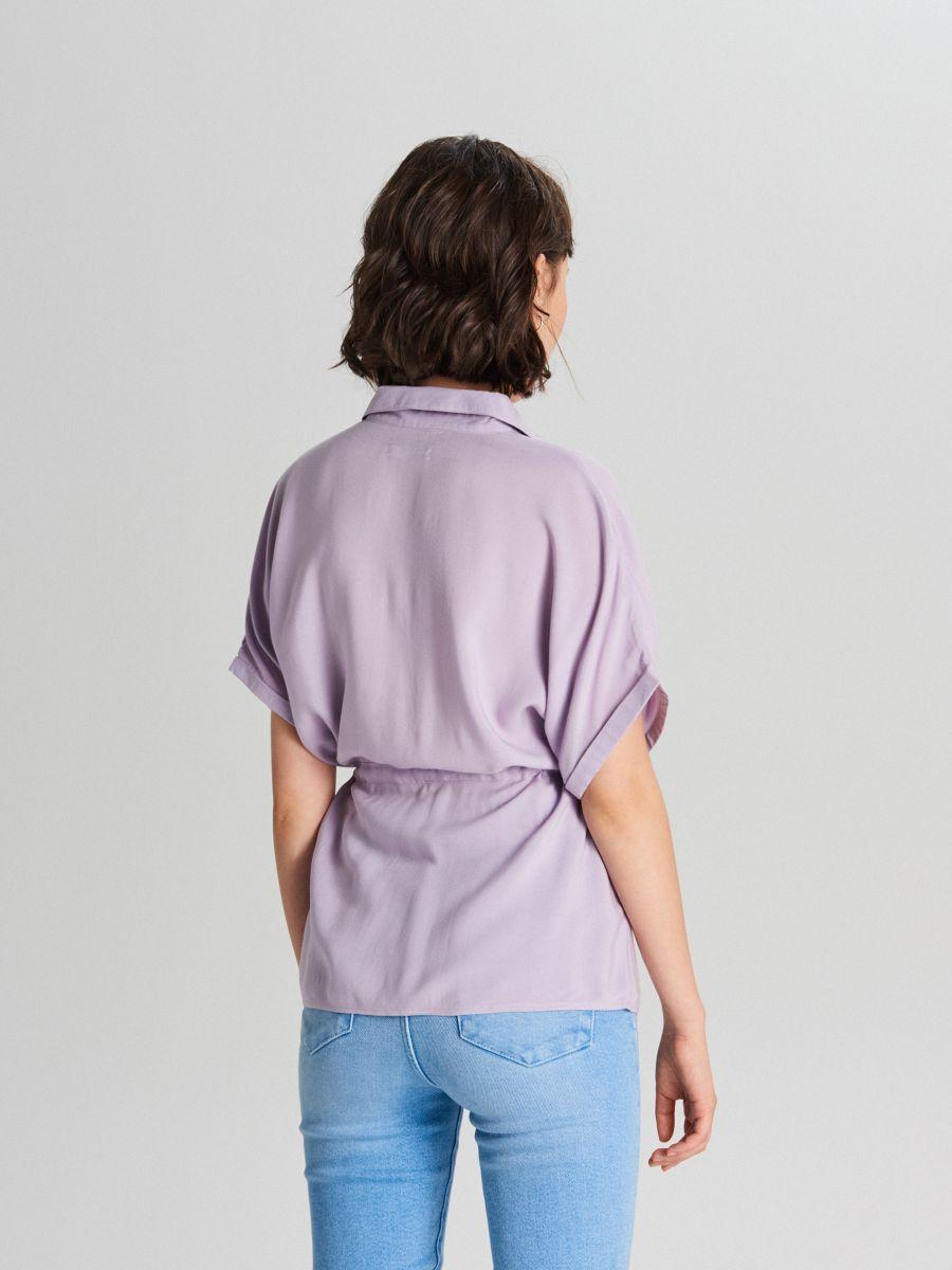Košeľa so sťahovacím pásom - Purpurová - XI751-04X - Cropp - 4