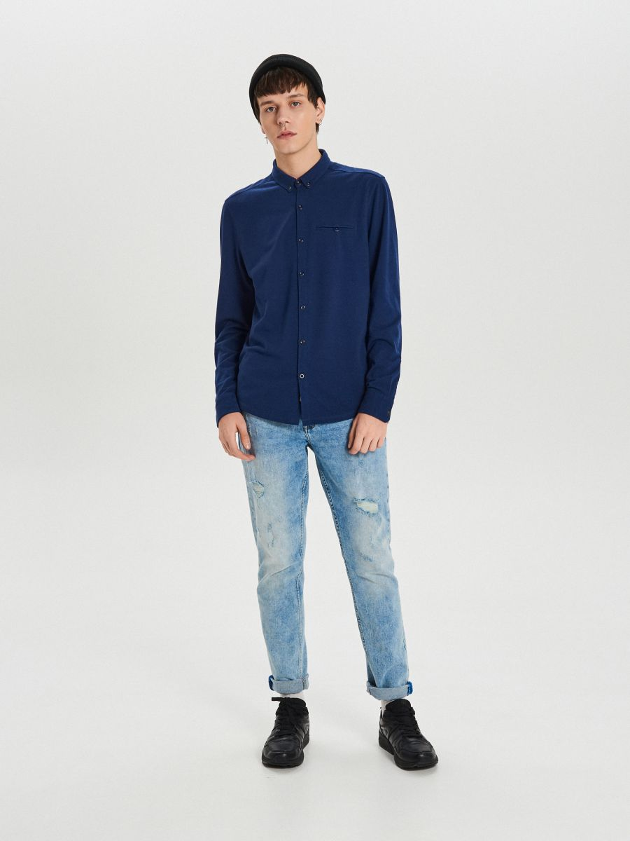 Hladká košeľa slim - Tmavomodrá - XK015-59X - Cropp - 2