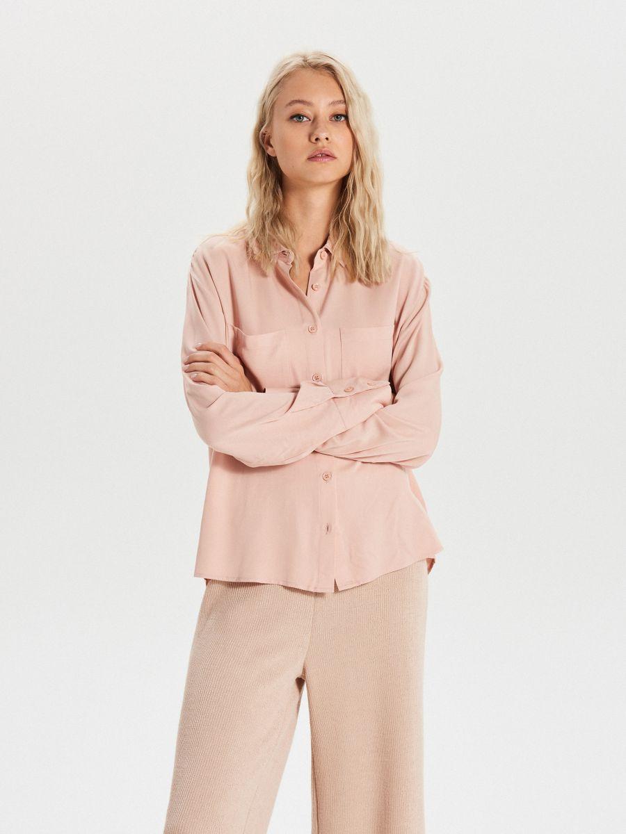 Hladká košeľa s vreckami - Ružová - XK626-03X - Cropp - 1
