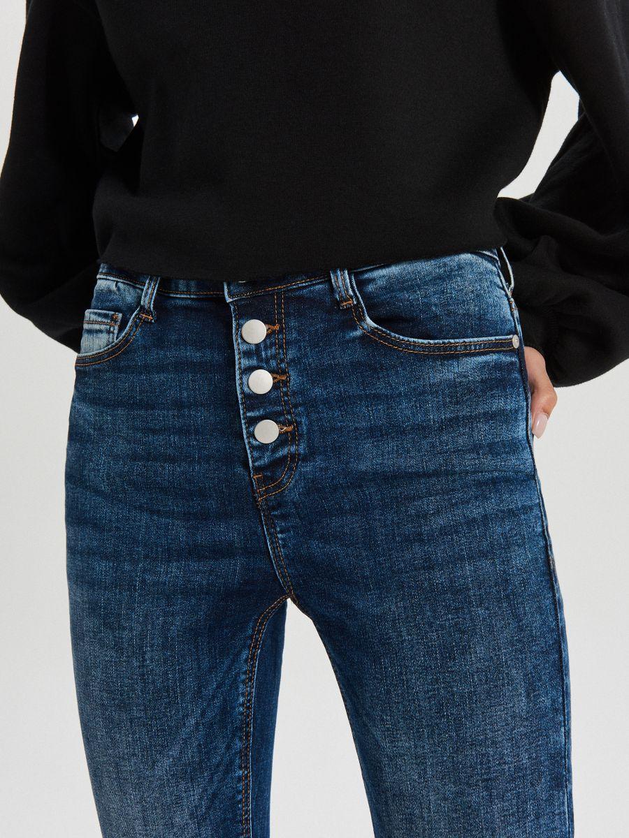 High waist džínsy - Modrá - XS700-55J - Cropp - 4