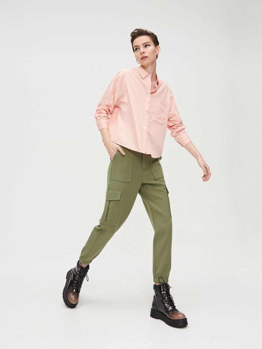 Oversize košeľa - Ružová - XV920-03X - Cropp - 1