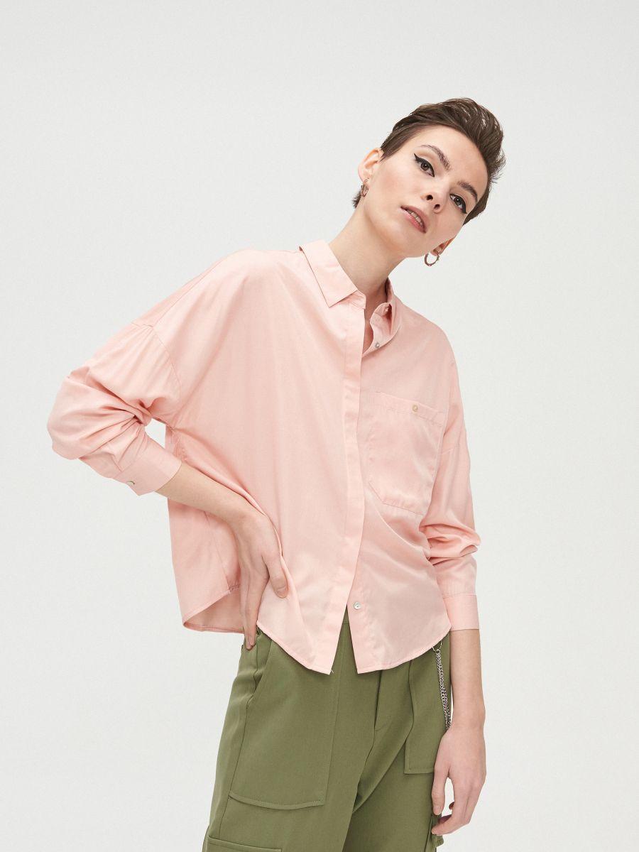 Oversize košeľa - Ružová - XV920-03X - Cropp - 2