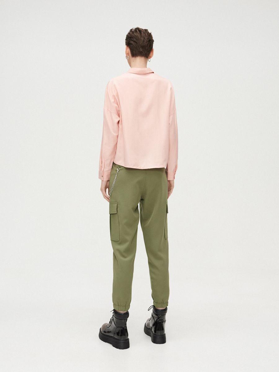 Oversize košeľa - Ružová - XV920-03X - Cropp - 4