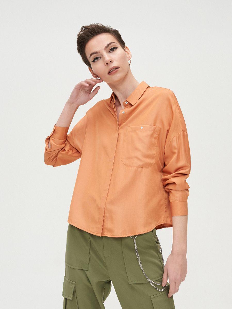Oversize košeľa - Oranžová - XV920-28X - Cropp - 1