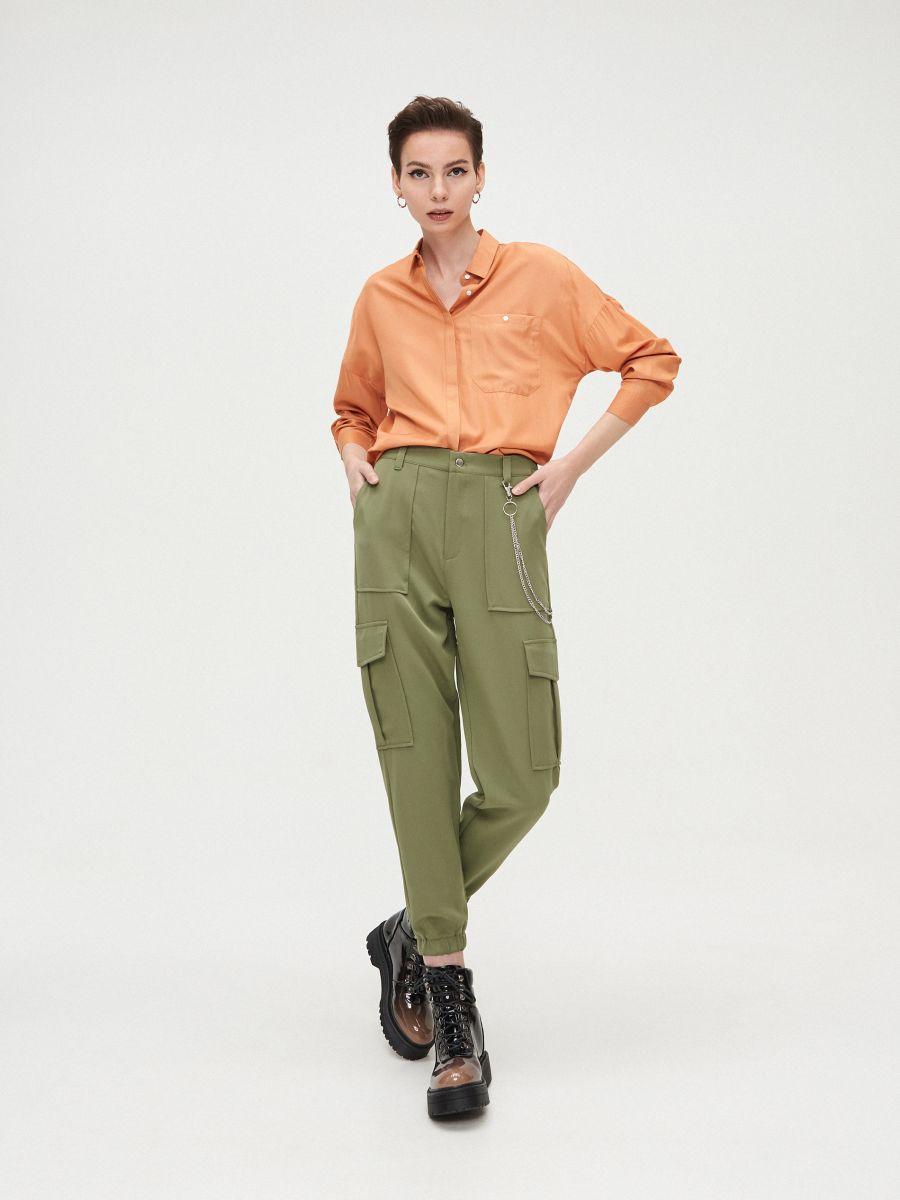 Oversize košeľa - Oranžová - XV920-28X - Cropp - 3