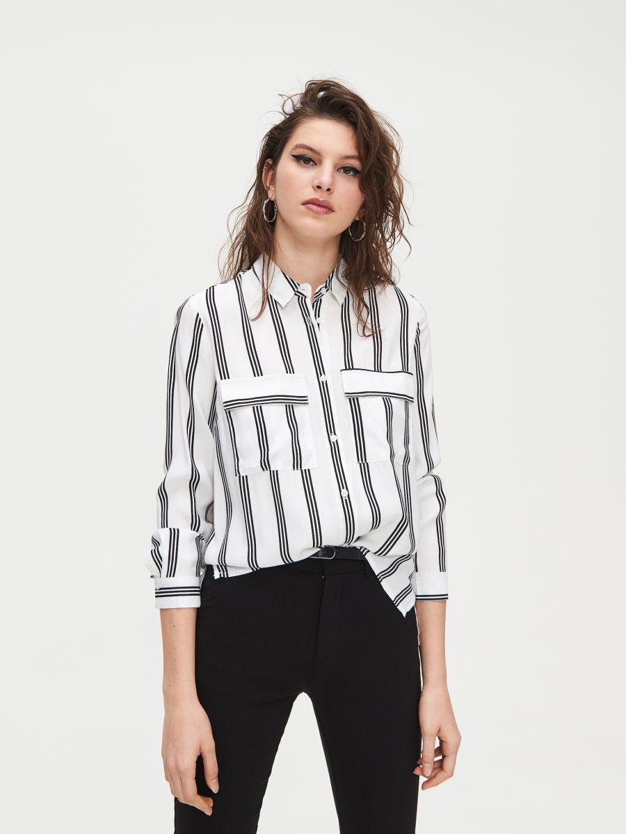 Pásikavá viskózová košeľa - Biela - XV921-00X - Cropp - 1