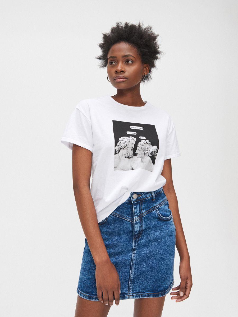 Tričko s potlačou - Biela - YC827-00X - Cropp - 2