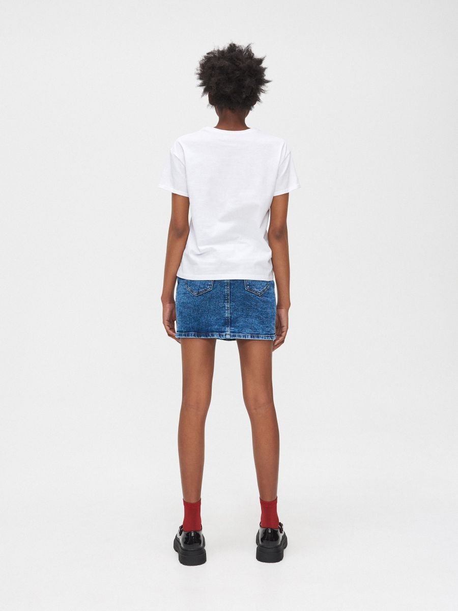 Tričko s potlačou - Biela - YC827-00X - Cropp - 4