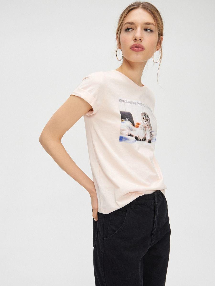Tričko s mačkou - Ružová - YC833-03X - Cropp - 1