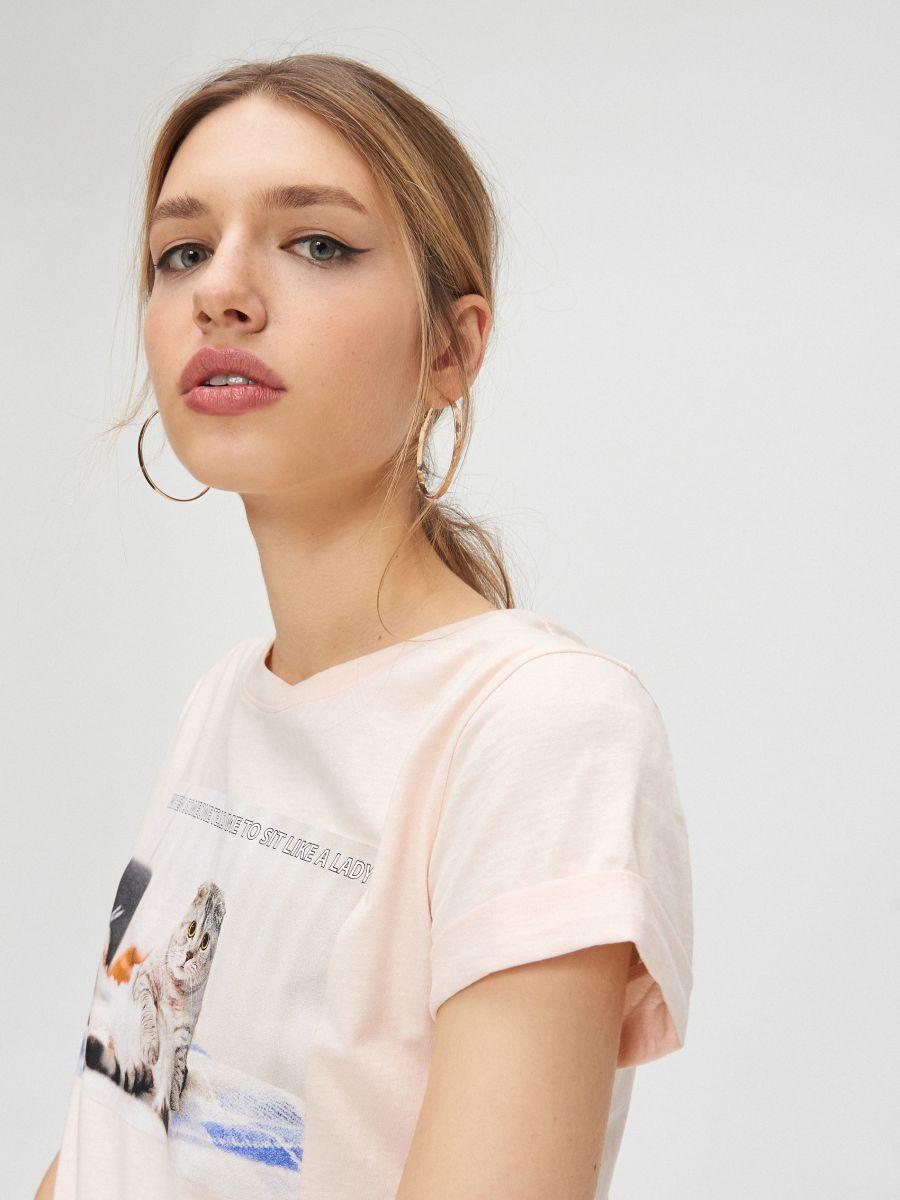Tričko s mačkou - Ružová - YC833-03X - Cropp - 3