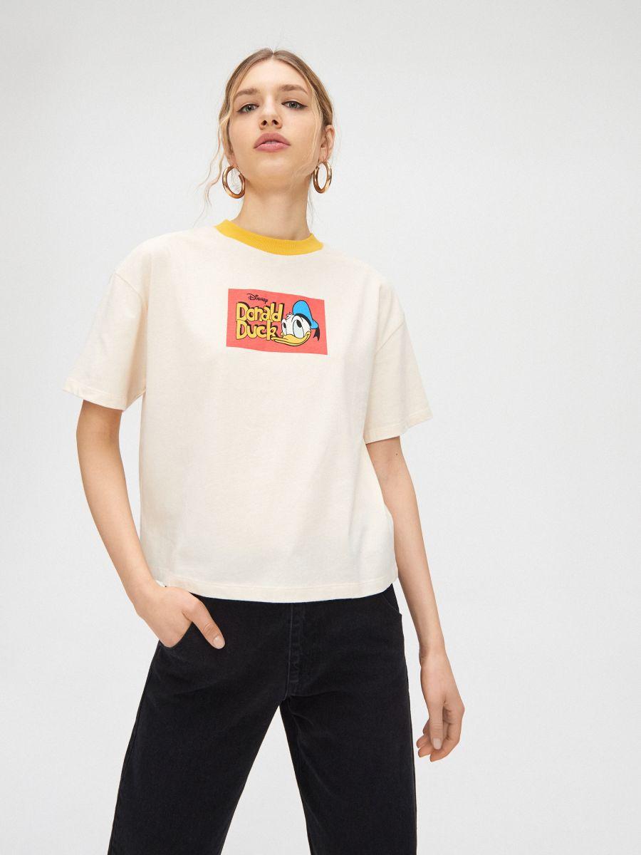 Tričko Donald Duck - Krémová - YC837-02X - Cropp - 1