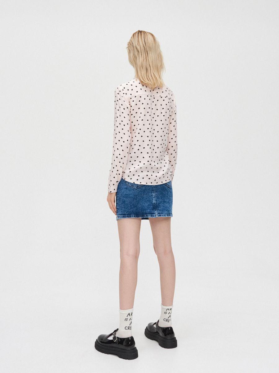Košeľa so stužkou pod golierom - Ružová - YD496-03X - Cropp - 5