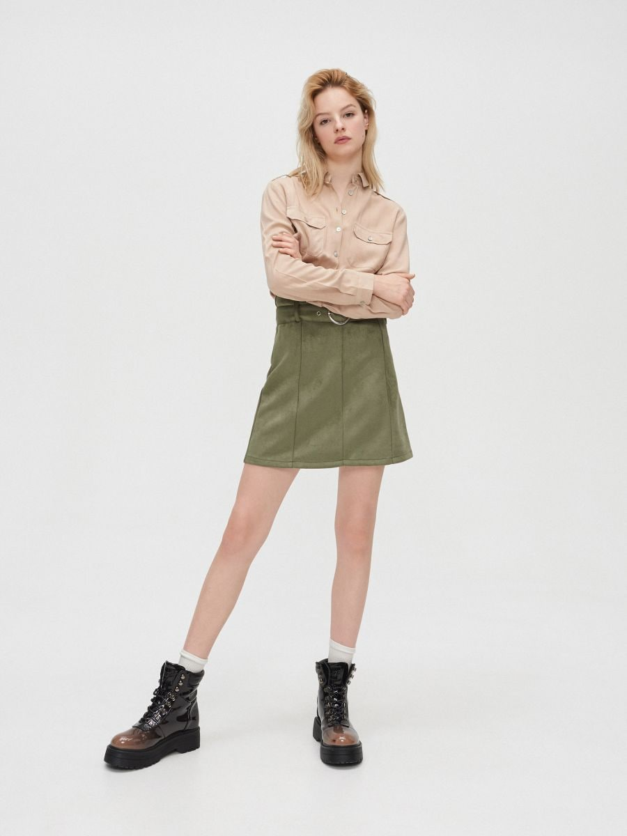 Hladká košeľa - Béžová - YD497-08X - Cropp - 1