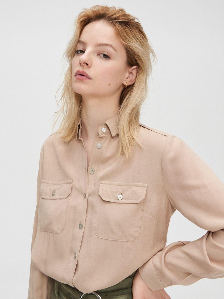 Hladká košeľa - Béžová - YD497-08X - Cropp - 2
