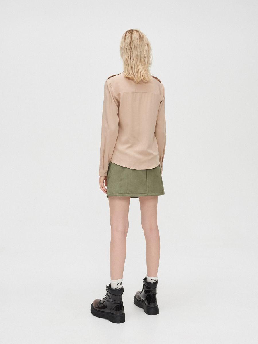 Hladká košeľa - Béžová - YD497-08X - Cropp - 4