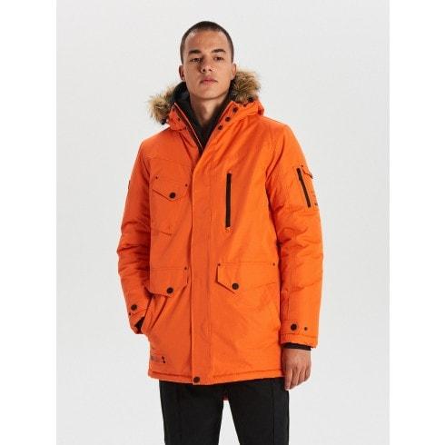 Teplá bunda s kapucňou z umelej kožušiny