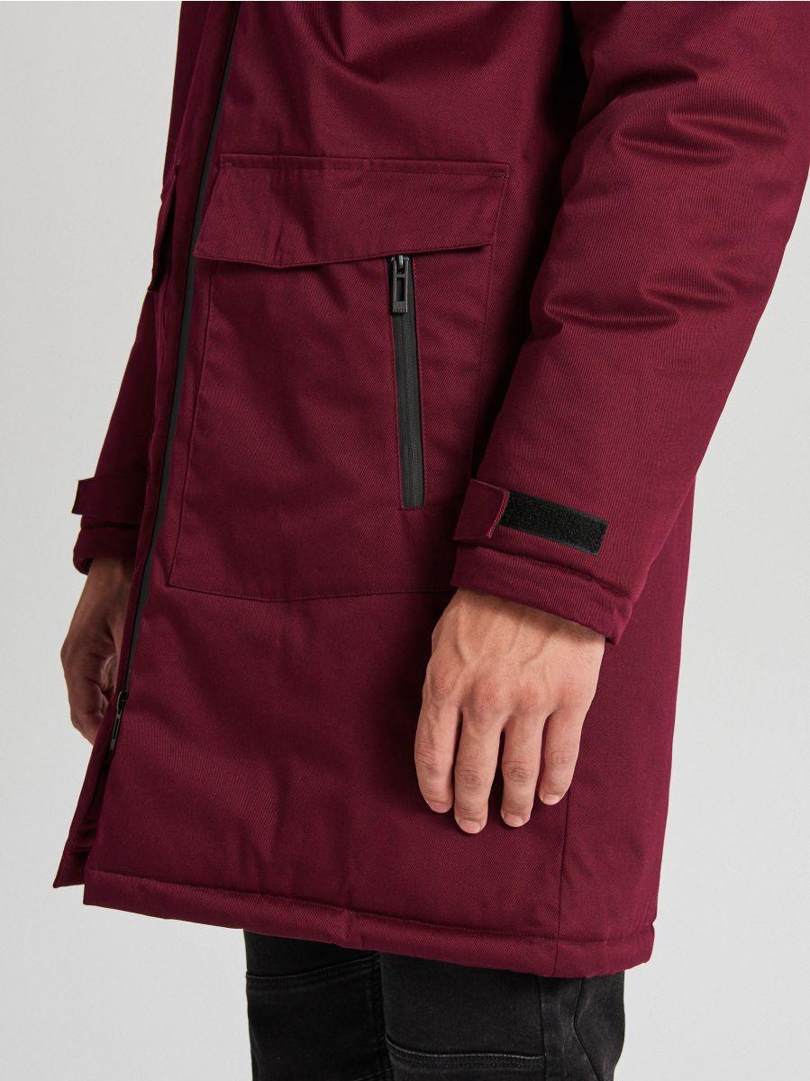Palton de iarnă cu glugă - BORDO - WC148-83X - Cropp - 5