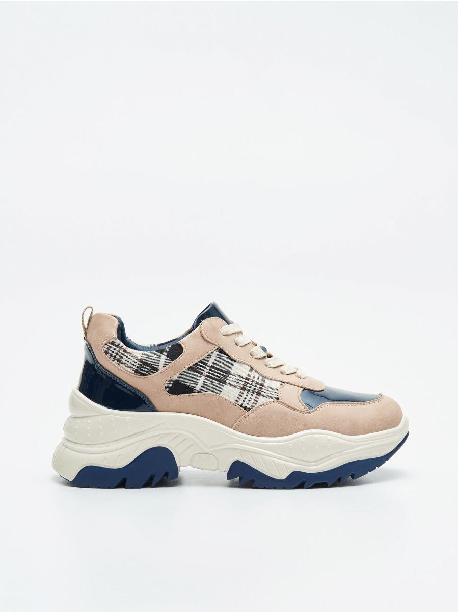 Pantofi sport chunky cu detalii în contrast - ALBASTRU - WE873-55X - Cropp - 1
