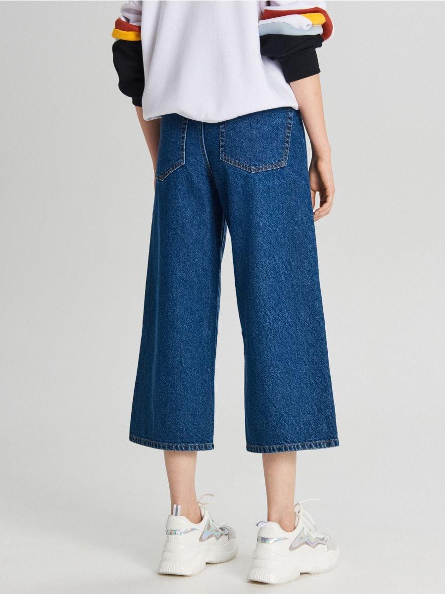 Fustă-pantalon din denim - ALBASTRU - WI363-55J - Cropp - 4