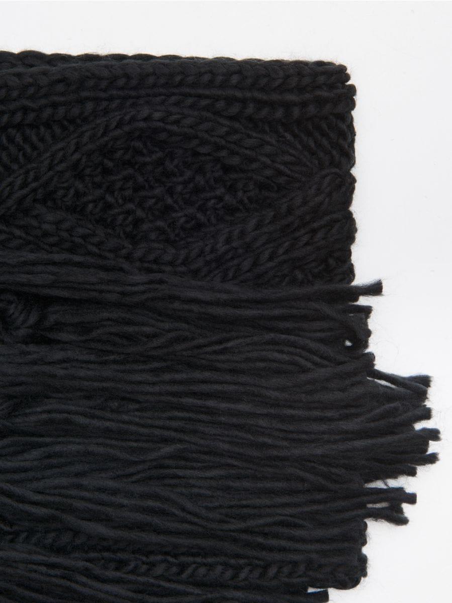 Fular din amestec de lână - NEGRU - WZ845-99X - Cropp - 2