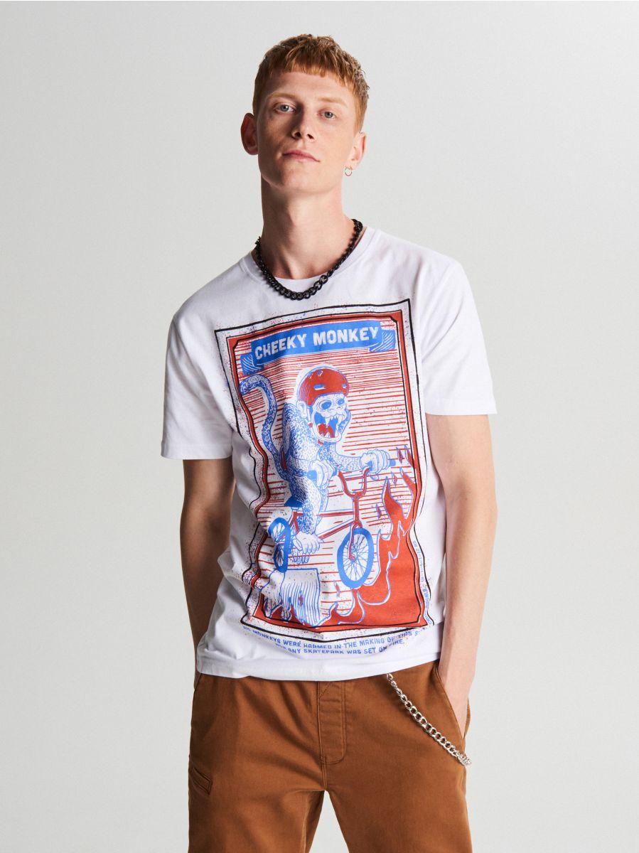 Tricou cu imprimeu mare - ALB - XC054-00X - Cropp - 1