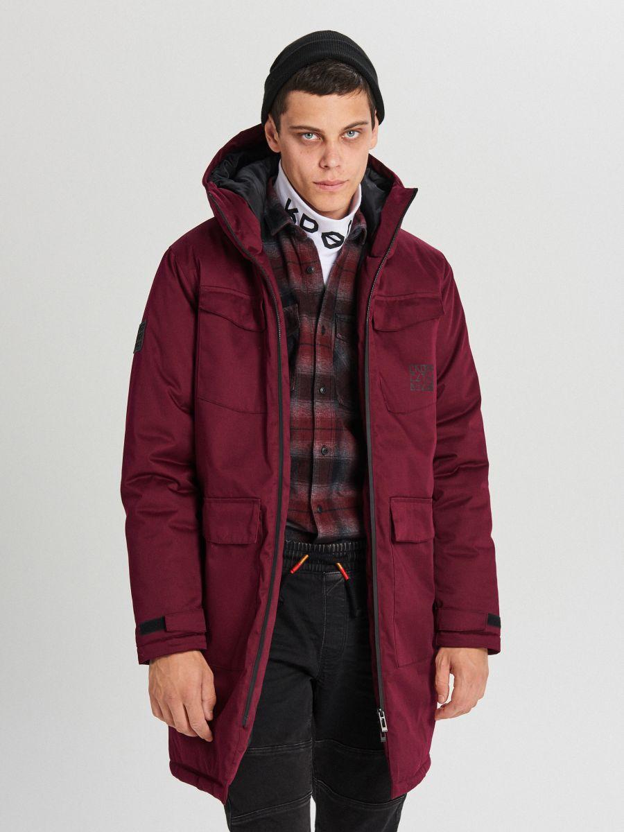 Palton de iarnă cu glugă - BORDO - WC148-83X - Cropp - 1
