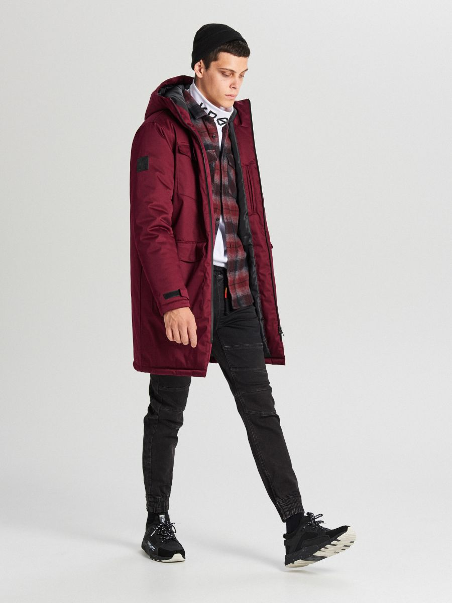 Palton de iarnă cu glugă - BORDO - WC148-83X - Cropp - 2