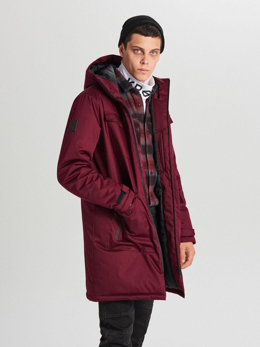 Palton de iarnă cu glugă - BORDO - WC148-83X - Cropp - 3