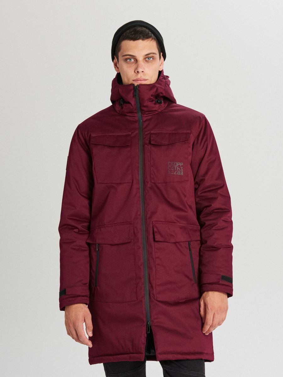 Palton de iarnă cu glugă - BORDO - WC148-83X - Cropp - 4