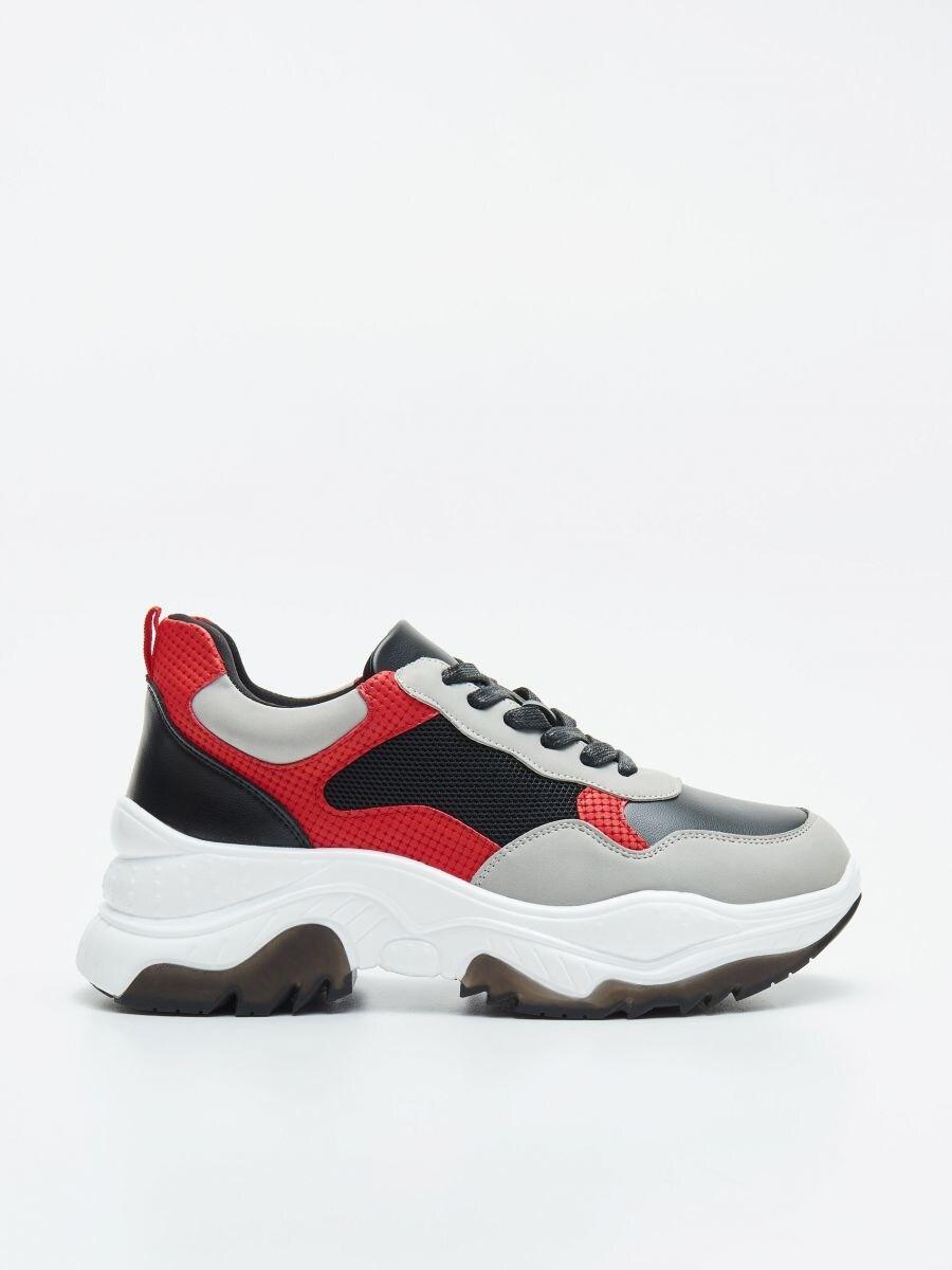Pantofi sport chunky cu detalii în contrast - ROȘU - WE873-33X - Cropp - 1