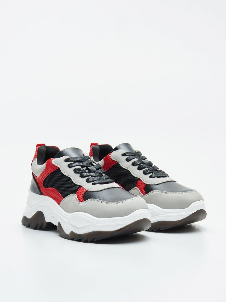 Pantofi sport chunky cu detalii în contrast - ROȘU - WE873-33X - Cropp - 3