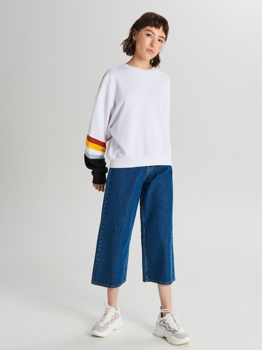 Fustă-pantalon din denim - ALBASTRU - WI363-55J - Cropp - 1