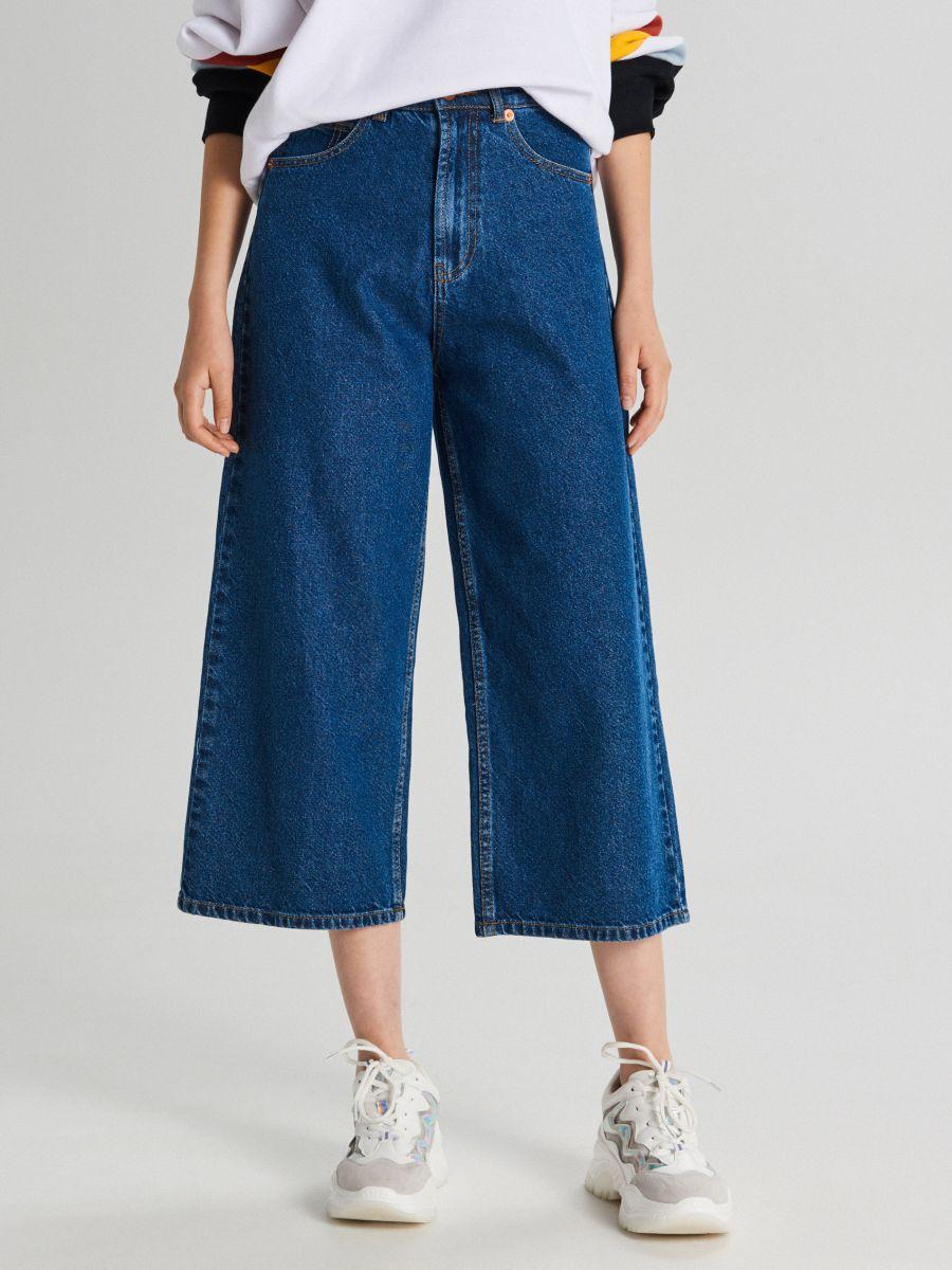 Fustă-pantalon din denim - ALBASTRU - WI363-55J - Cropp - 2
