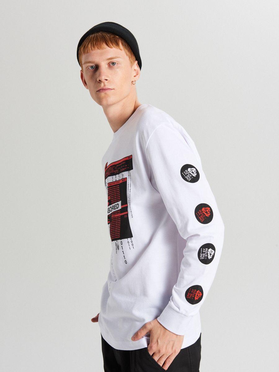 Tricou cu mânecă lungă - ALB - WX593-00X - Cropp - 3