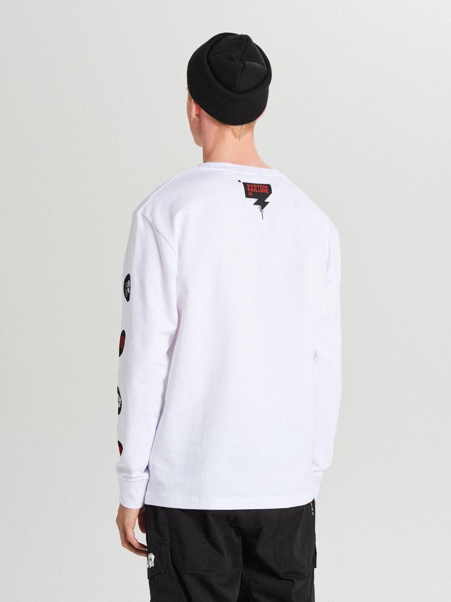 Tricou cu mânecă lungă - ALB - WX593-00X - Cropp - 4
