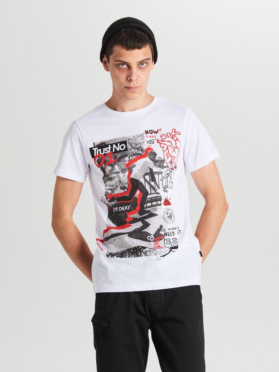 Tricou cu imprimeu - ALB - XB655-00X - Cropp - 1
