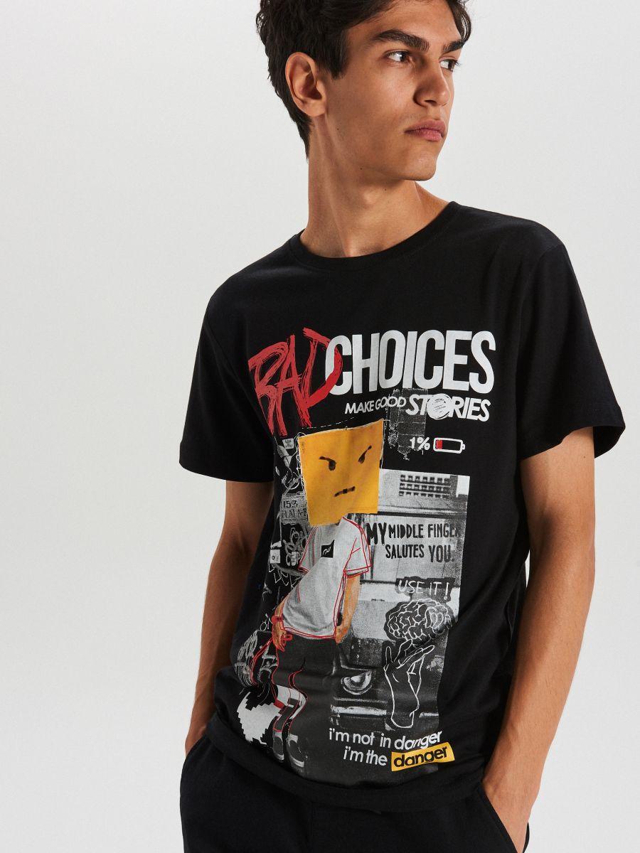 Tricou cu imprimeu - NEGRU - XB656-99X - Cropp - 2
