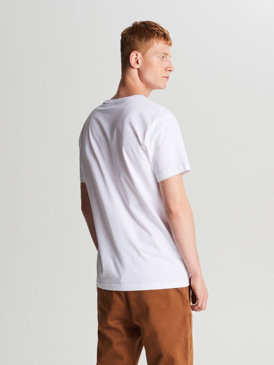 Tricou cu imprimeu mare - ALB - XC054-00X - Cropp - 3