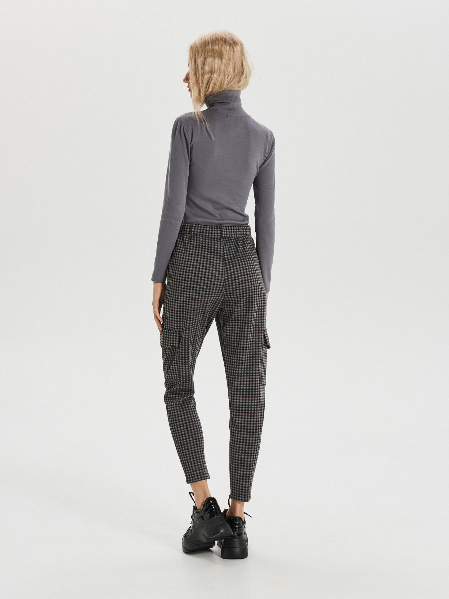 Pantaloni jogger în carouri mărunte - KAKI - XO709-78X - Cropp - 5