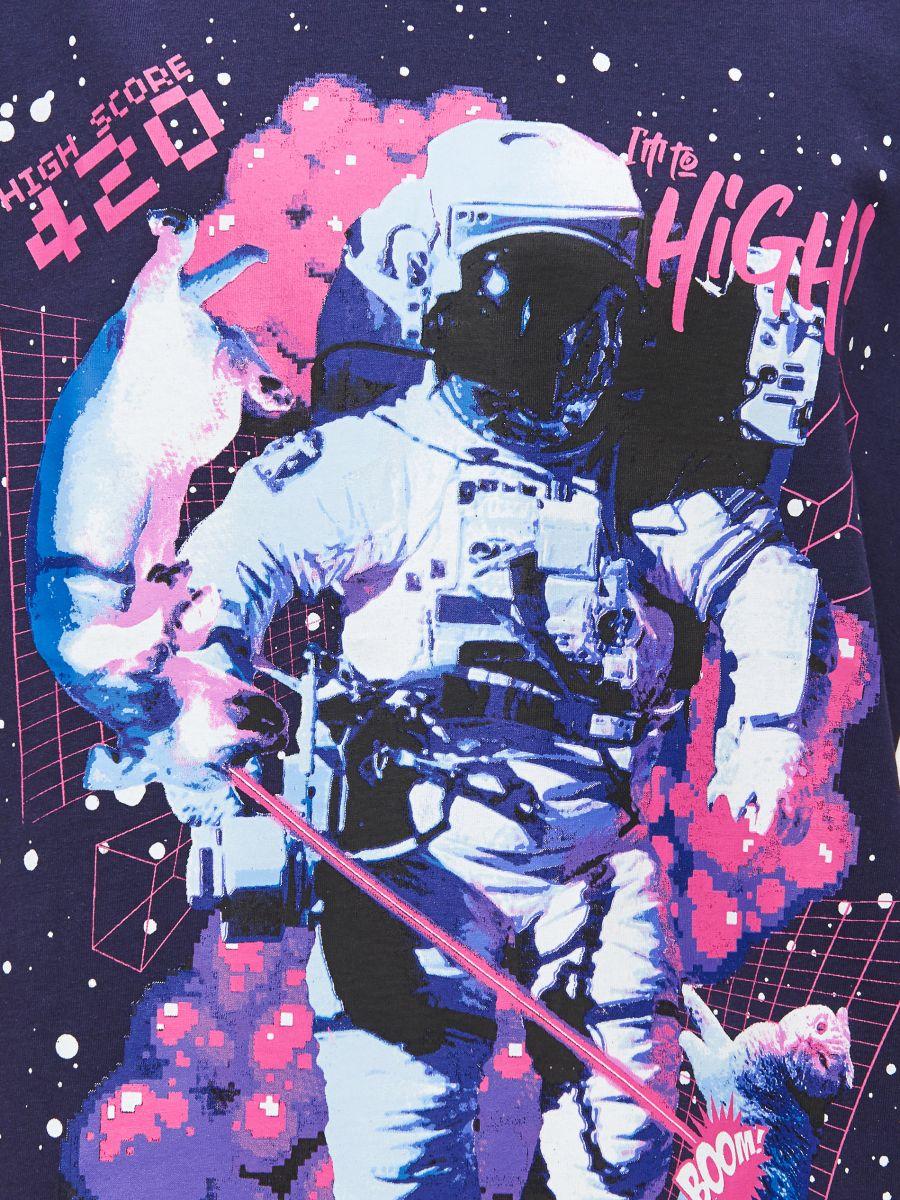 Tricou cu imprimeu Space - BLEUMARIN - XP523-59X - Cropp - 3